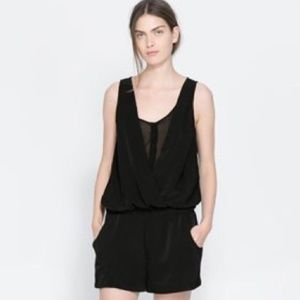 Zara Black Playsuit Romper sz S
